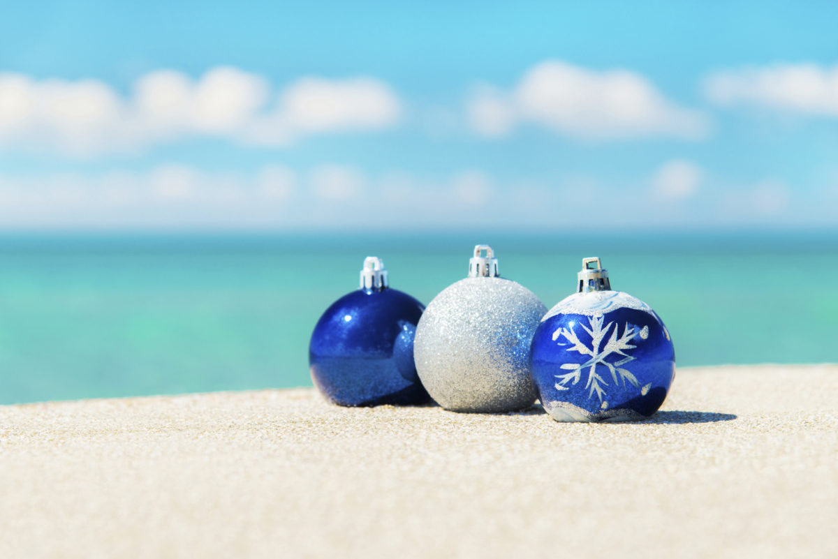 christmas baubles on beach